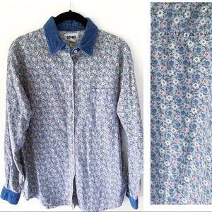 VINTAGE Gitano Floral Blue Prarie  Long Sleeve Top